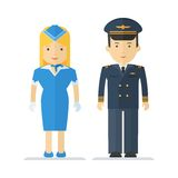 Profession pilot and stewardess Royalty Free Stock Images
