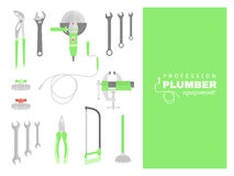 Profession - plumber. Repairing tools set. Flat decorative icons Royalty Free Stock Images