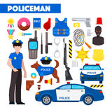 Profession Policeman Icons Set with Police Car and Handcuffs Stock Photo