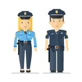 Profession policeman and woman Royalty Free Stock Photo