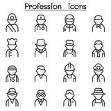 Profession &  Career icon set in thin line style. Profession Stock Images
