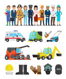 Profession Representatives and Equipments Set Stock Images
