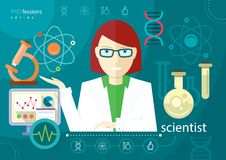 Profession scientist icon elements of laboratory Stock Images