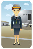Profession series: Flight attendant. Illustration of a female flight attendant in uniform, standing in front o an airplane Stock Photos