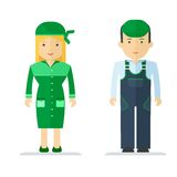 Profession service man and woman  Royalty Free Stock Image