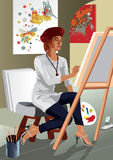 Profession set: Artistic Painter. Colorful illustration of a female artistic painter in her studio Stock Image