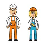 Profession set : builder woman Stock Images