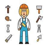 Profession set : builder woman Stock Image