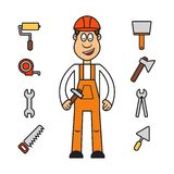 Profession set : builder woman Stock Photos