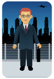 Profession set: Businessman. Illustration of a businessman in a city at night Royalty Free Stock Photos