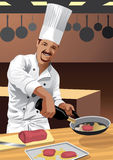 Profession set: Chef Cook. Illustration of a male chef cook preparing food in a kitchen Stock Photo