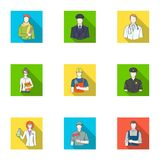 Profession set collection icons in flat style vector. Doctor, worker, military, artist and other types of profession.Profession set collection icons in flat Stock Photography