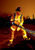 Profession set: Fire fighter. Illustration of a brave fireman at work Stock Photo