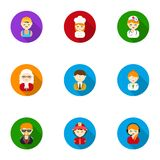 Profession set icons in flat style. Big collection of profession vector symbol. Stock Royalty Free Stock Photos
