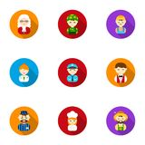 Profession set icons in flat style. Big collection of profession vector symbol. Stock Stock Photos
