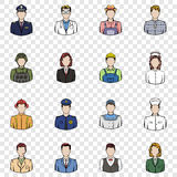 Profession set icons. In hand drawn style on transparent background Royalty Free Stock Photos