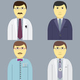 Profession Set men, manager engeneer doctor hairdresser Stock Images
