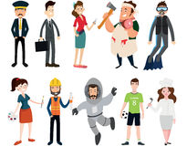 Profession set on white background. Profession set the driver, a businessman, a hairdresser, a butcher, a diver, artist, builder, astronaut football and cook royalty free illustration