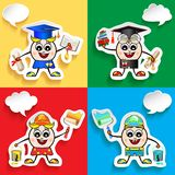 Profession and stuff characters set with speech bubbles.Graduate, Painter, Workman. royalty free illustration