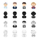 Profession, vocation, education and other web icon in cartoon style., Barman, manager, teacher, icons in set collection. Royalty Free Stock Images