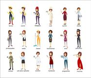 Profession women set. Police and firefighters, businessmen and doctors Stock Photography