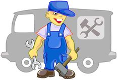 Professional. Worker on car repairs in a uniform with the tool in hands Stock Image