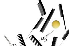 Professional accessories of hairdresser on work desk white background top view space for text.  stock photo