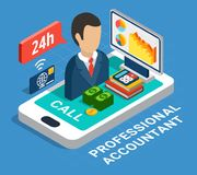 Professional Accountant Isometric Composition royalty free illustration