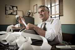 Professional accountant at work in vintage office Royalty Free Stock Image