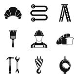 Professional activity icons set, simple style. Professional activity icons set. Simple set of 9 professional activity vector icons for web isolated on white Royalty Free Stock Images