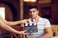 Professional Actor Playing a Tough Guy Role. Portrait of a handsome man a ready to film a new scene royalty free stock photos