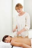 Professional Acupuncture Therapist Fire Cupping Royalty Free Stock Image
