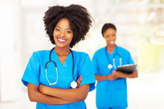 Professional african nurse. Professional african american medical nurse in office Royalty Free Stock Photos