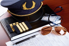 Professional airline pilot equipment Royalty Free Stock Photo