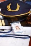 Professional airline pilot equipment Stock Photos