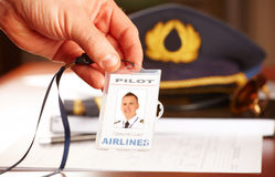 Professional airline pilot equipment Stock Images