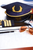 Professional airline pilot equipment Stock Photo