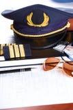 Professional airline pilot equipment Stock Photo