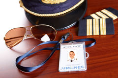 Professional airline pilot equipment Stock Image