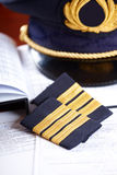 Professional airline pilot equipment Stock Photos