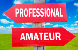 Professional or amateur. Professional and amateur choice showing strategy change or dilemmas stock photos