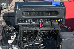 Professional amplifier, audio equipment, cables and connectors: Royalty Free Stock Photography