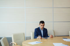 Professional analyst. Contemporary businessman browsing in the net stock photography