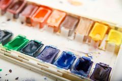 Professional aquarelle paintbox Stock Image