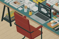 Professional architect and interior designer isometric desktop