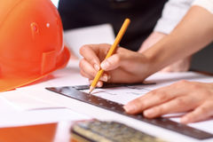 Professional architect making drawing Royalty Free Stock Images