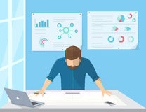 Professional architect or project manager is planning the work. Or drawing a building scheme. Flat illustration of business man stands near the workdesk and Royalty Free Stock Photos