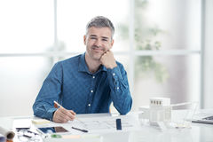 Architect working in his office Royalty Free Stock Image