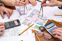 Professional architects discussing the house project Stock Photo