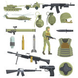 Professional Army Infantry Forces Weapons, Transportation And Soldier Equipment Set Of Realistic Objects In Khaki Color. Military Ammunition, Armor, Guns And Royalty Free Stock Images